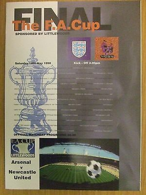 ARSENAL v NEWCASTLE: 1998 FA CUP FINAL PROGRAMME: SUPERB MINT CONDITION: LOOK!!!