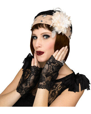 Gangster Flapper Roaring 20s Champagne Cloche And Gloves Costume Accessory