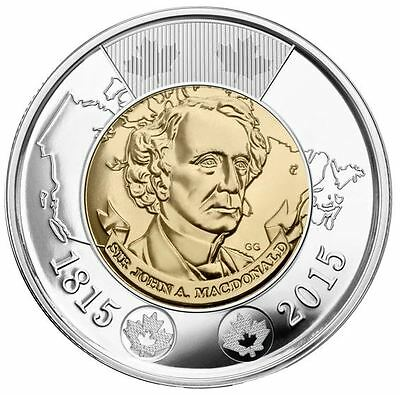2014 Commemorating 1st Prime Minister Of Canada Sir John A Macdonald $2 Coin.