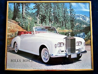 Vintage 1986 poster picture White Rolls Royce Saint Chateaux Galleries Framed