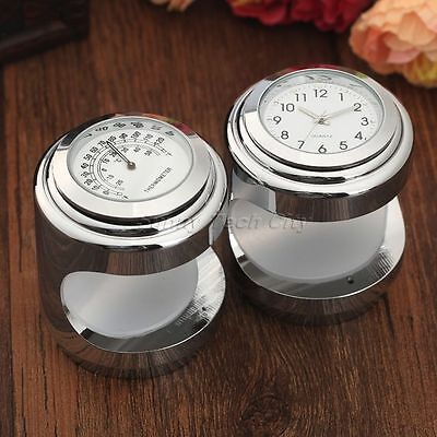 """7/8"""" 1"""" Chrome Handlebar Thermometer Dial Clock Guage Set for Motorcycle Cruiser"""