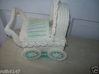 """Needlepoint Baby Stroller Nursery/Baby Shower Decor 9"""" Tall 6"""" Wide ( never Used"""