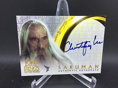 2002 Topps Lord of the Rings the Two Towers Christopher Lee Auto As Saruman
