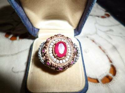 Antique Victorian Renaissance Vintage Style Ruby Sterling Silver Rose Gold Ring