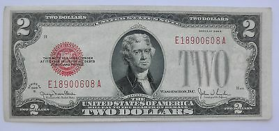 Series of 1928 G United States $2 Note, Red Seal & Serial Number~~Clean & Pretty