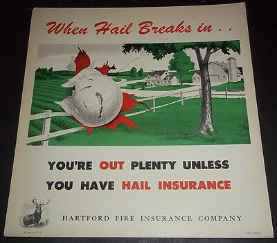 Hartford Fire Insurance Co 1953 Hail Insurance Cardboard Sign w Farm Scene