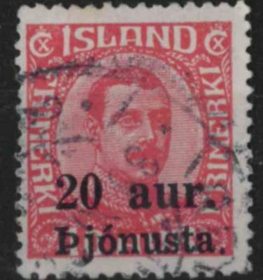 t309) Iceland. 1922. Used. SG O153 20a on 10a Red. Official.
