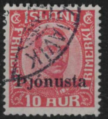 t311) Iceland. 1936. Used. SG O221 10a Red. Official.