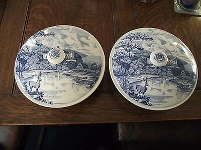 PAIR Vintage BARRATTS OF STAFFORDSHIRE ENGLISH CASTLES Round Terrine with Lid