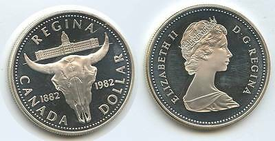 G6511 - Kanada 1 Dollar 1982 KM#133 Cattle Skull Proof Silber Canada