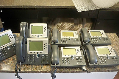 Lot (7) Cisco CP-7960G 7960 IP VoIP Business Phones w/handsets & stands