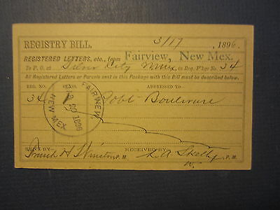 Old 1896 FAIRVIEW N.M. Registered Letters Postal CARD to Silver City NEW MEXICO