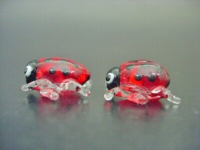 2 Tiny Glass LADYBIRDS Bugs Red & Black Spotted Insects Painted Ornaments Animal