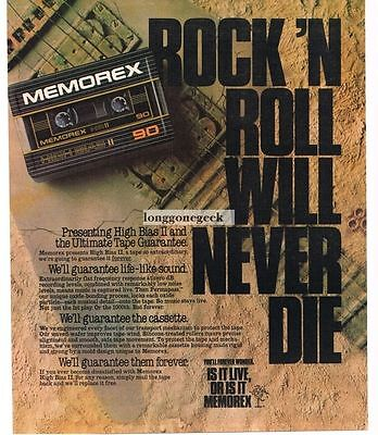 1983 MEMOREX Cassette Tapes Rock Will Never Die Fossil Guitar Vtg Print Ad