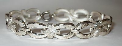 "Vintage Antique 835 Silver Sign K&L Oval Knots Link Bracelet 7.5""x 3/8"" Wide"