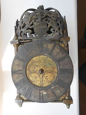 Early 18thc Miniature Brass Lantern Clock Trout Bond Street, Restoration/ Repair