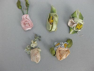 Antique Victorian ombre silk ribbon roses
