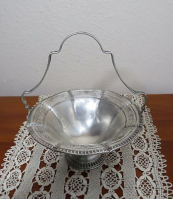 Beautiful Antique Webster Sterling Footed And Handled Basket With Chased Design