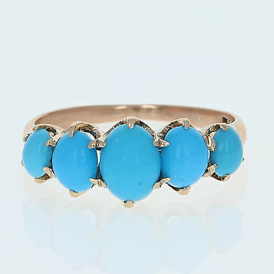 Victorian Simulated Turquoise Ring - 10k Rose Gold Five-Stone Cabochon Antique