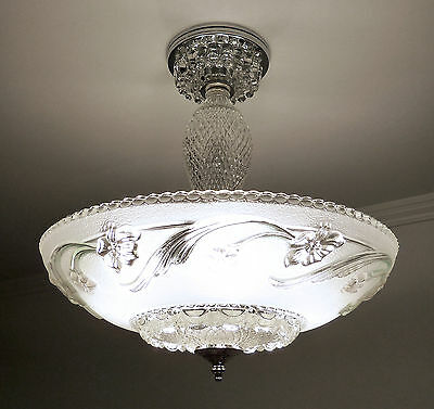 Antique 1930s-40s Vintage Art Deco Glass Ceiling Light Fixture Satin Crystal