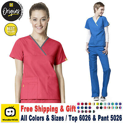 WonderWink Origin [XS-3XL] Women's Y-Neck Top & Flare Pant Medical Scrub Set