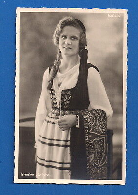 Iceland - Young Women In Native Dress Attire Real Photo Postcard Rppc