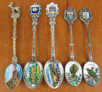 5 x Enameled Picture Bowl Souvenir Spoons most silverplate vintage bird cottage