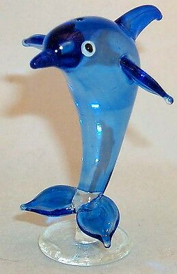 Dolphin ArtGlass Small hand-crafted& painted jumping Single on base 1 pc.
