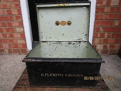 Antique Bramah & Co. Deed box / Bramah Safe box with owners name -Fleming-Crooks