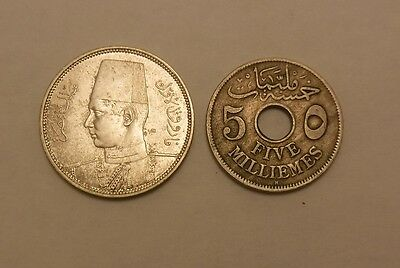 Au / BU  Egypt 1917 & 1938 ? 5 Milliemes coins one is occupied