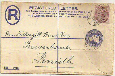 GB 1897 QV 2d REGISTERED LETTER+1d LILAC BOLTON->PENRITH CORNWALL