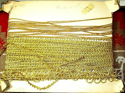 Antique Lot Unused 3 Gold Trims On Original Board GOLD THREADS 1 OF 2