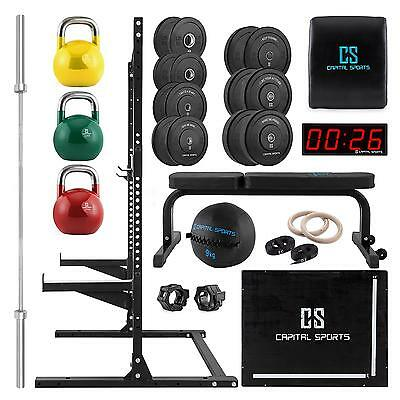 Capital Sports Complete Gym Machines Set Home Training Center Weight Rack Bench