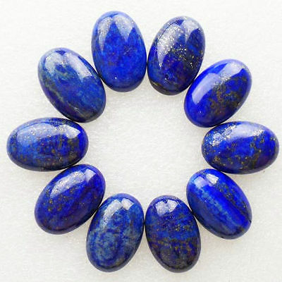 5 PIECES OF 7x5mm OVAL CABOCHON-CUT ROYAL-BLUE NATURAL CHINESE LAPIS LAZULI GEMS