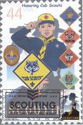 BOY SCOUTS:  CUB SCOUT (& Badges) on 2010 4x6 First Day Cover Card (B)