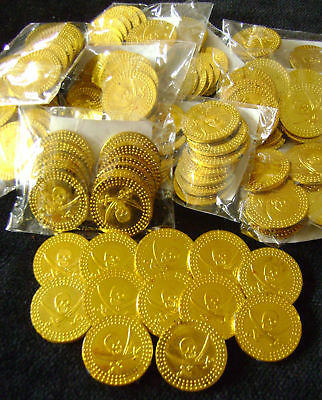 NEW 240 GOLD COINS PIRATES TREASURE FUN PARTY BAG TOY! 20 bags HB. S