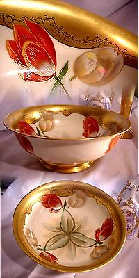 Antiq Pickard And T&v Limoges France Large Fruit Bowl Hand Painted Tulips Signed