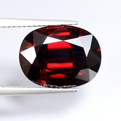 FLAWLESS 8.75ct NATURAL100% UNHEATED RED PYROPE GARNET OVAL FACETTED