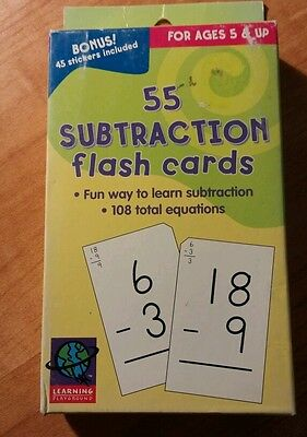 55 Subtraction  Flash Cards w/Stickers Educational Learning Playground