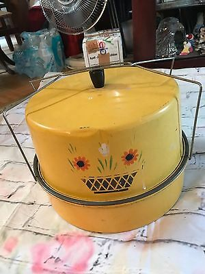 Vintage Tin Metal Cake & Pie Carrier Taker Yellow with Design Painted