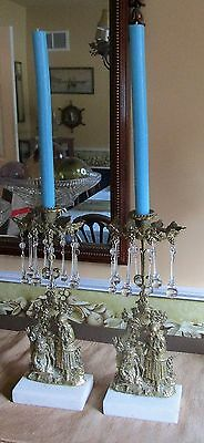 Antique Vintage French Solid Brass/ Gold Crystal Girandole Candlestick Holders