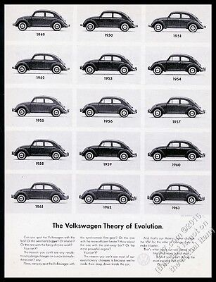 1963 VW Volkswagen Beetle cars 1949-on photo Theory Of Evolution 13x10 print ad
