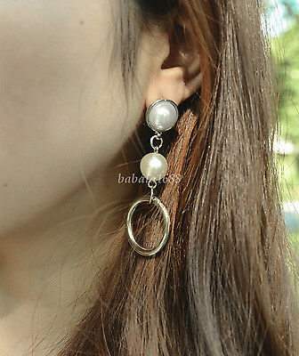 1Pair Fashion Pearl Drop Dangle Alloy Circle Ring Earrings Ear Studs Jewelry New