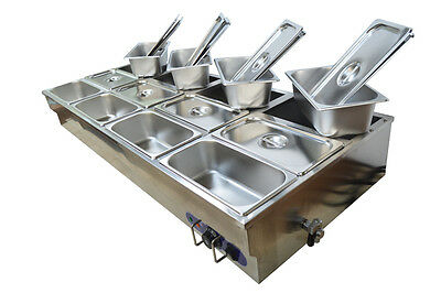 12-Pan Countertop Bain-Marie Buffet Food Warmer Steam Table 1/3Pans