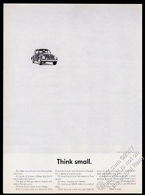 1962 VW Beetle classic car photo Think Small Volkswagen vintage print ad VF