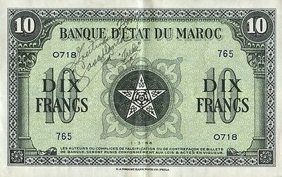 SHORT SNORTER On Morocco 10 Franc Note