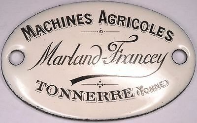 French enamel door appliance sign plaque Marland-Francey agricultural equipment