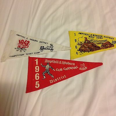 3 x Ampthill & Woburn Scout Pennants 1960s