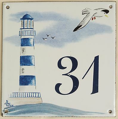 French house number 31 door plate plaque enamel steel sign lighthouse seagull