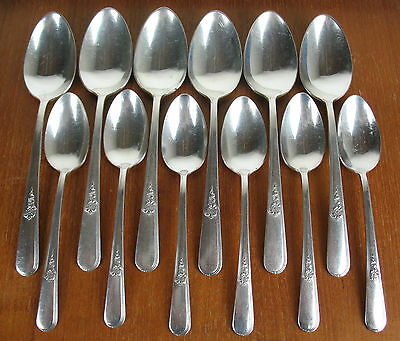 12 x Spoons 6 Soup & 6 Teaspoons Holmes & Edwards Youth 1940 vintage silverplate
